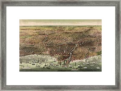 The City Of Chicago, Circa 1892 Framed Print by Currier and Ives
