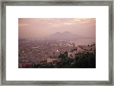 The City Of Naples And Mount Vesuvius Framed Print by Richard Nowitz