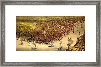 The City Of New Orleans, And The Mississippi River Lake Pontchartrain In Distance, Circa 1885 Framed Print by Currier and Ives
