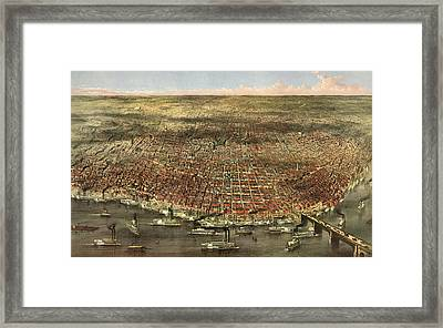 The City Of St. Louis, Circa 1874 Framed Print by Currier and Ives