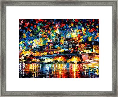 The City Of Valetta - Malta Framed Print by Leonid Afremov