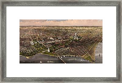 The City Of Washington Birds Eye View From The Potomac, Looking North, Circa 1880 Framed Print