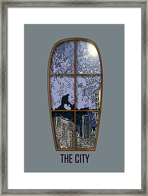 The City Window Framed Print by Simone Pompei