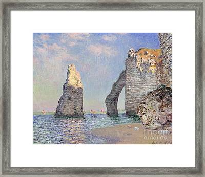 The Cliffs At Etretat Framed Print by Claude Monet