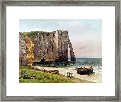 The Cliffs At Etretat Framed Print by Gustave Courbet