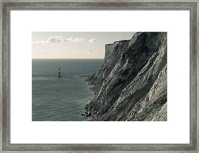 The Cliffs Of Beachy Head And The Lighthouse Framed Print by Luka Matijevec