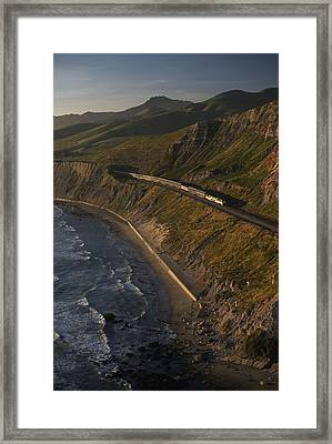 The Coast Starlight Train Snakes Framed Print by Phil Schermeister