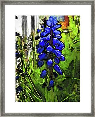 The Cobalt Blue Flowers And The Long Green Grass Framed Print