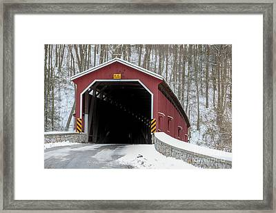 The Colemansville Covered Bridge In Winter Framed Print