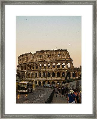The Coliseum And The Full Moon Framed Print