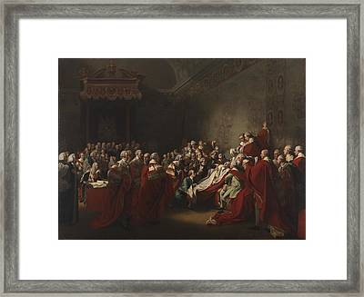 The Collapse Of The Earl Of Chatham In The House Framed Print by John Singleton