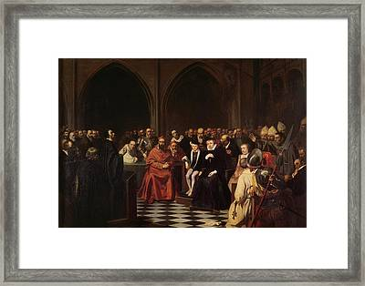 The Colloquy Of Poissy Framed Print by Joseph-Nicolas Robert-Fleury