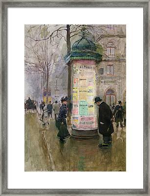 The Colonne Morris Framed Print by Jean Beraud