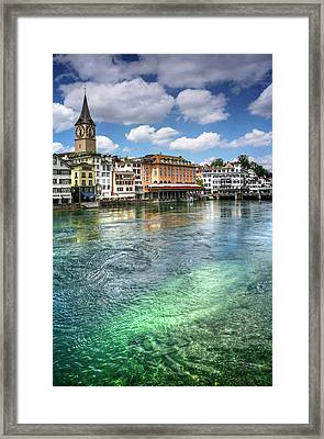 The Colorful Limmat River Zurich Switzerland  Framed Print
