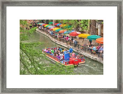 Colorful Riverwalk Of San Antonio Texas - Paseo Del Rio Framed Print