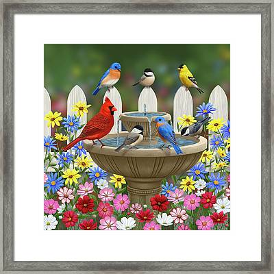 The Colors Of Spring - Bird Fountain In Flower Garden Framed Print by Crista Forest