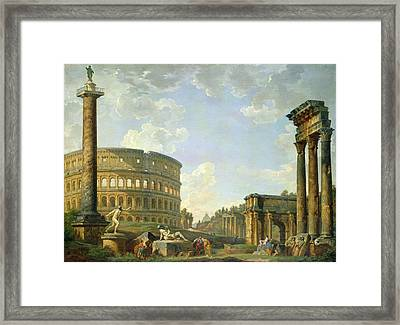 The Colosseum And Other Monuments Framed Print by Giovanni Paolo Panini