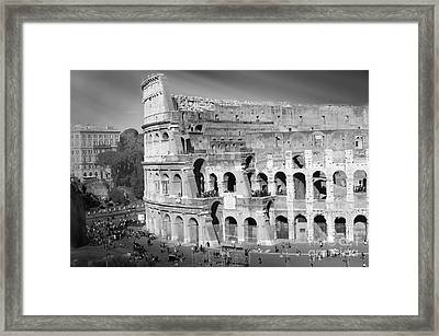 The Colosseum Black And White By Stefano Senise Framed Print by Stefano Senise