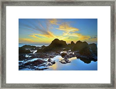 Framed Print featuring the photograph The Colours Amongst Sea, Sky And Stone by Tara Turner