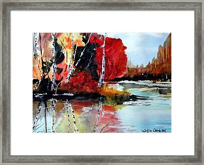 The Colours Of Autum Definitely Red Framed Print by Wilfred McOstrich