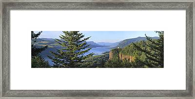 The Columbia River Gorge Vista House Panorama. Framed Print by Gino Rigucci