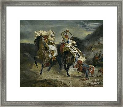 The Combat Of The Giaour And Hassan Framed Print by Ferdinand Victor Eugene Delacroix
