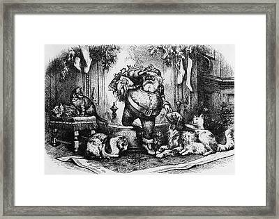 The Coming Of Santa Claus Framed Print by Thomas Nast