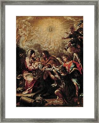 The Conferring Of The Name Of Jesus Framed Print by Juan de Valdes Leal