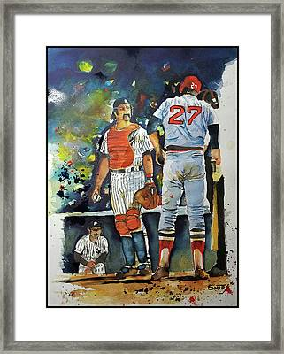 The Conflict At Home Plate Framed Print by Fred Smith