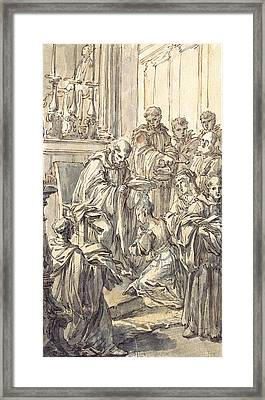The Consecration Of Saint Juliana Falconieri Framed Print by Pier Leone Ghezzi