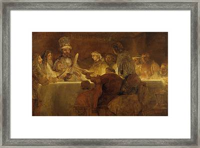 The Conspiracy Of The Batavians Under Claudius Civilis Framed Print by Rembrandt