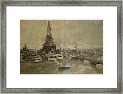 The Construction Of The Eiffel Tower Framed Print by Paul Louis Delance