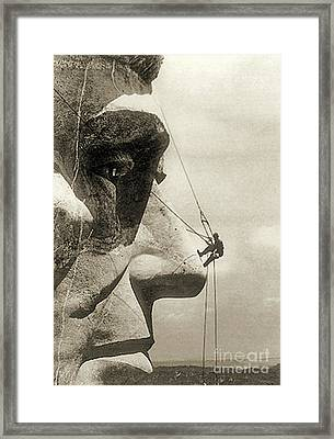 The Construction Of The Mount Rushmore National Memorial, Detail Of Abraham Lincoln,1928  Framed Print by American School