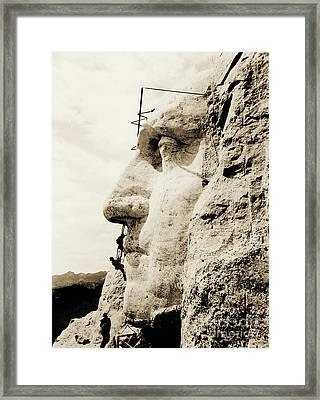 The Construction Of The Mount Rushmore National Memorial, Detail Of George Washington Framed Print by American School