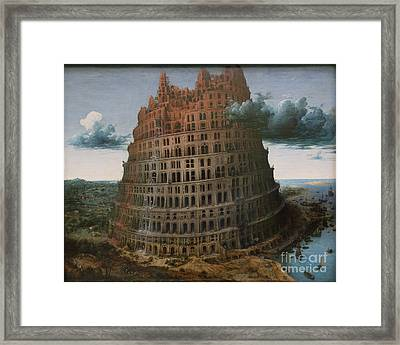 The Construction Of The Tower Of Babel Framed Print by Celestial Images