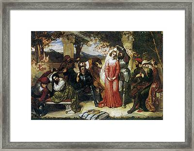 The Contest Of Beauty For The Girle Of Florimel Britomartis Unveiling Amoret Framed Print
