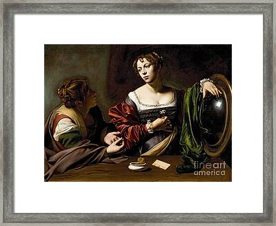 The Conversion Of The Magdalene Framed Print by Michelangelo Merisi da Caravaggio