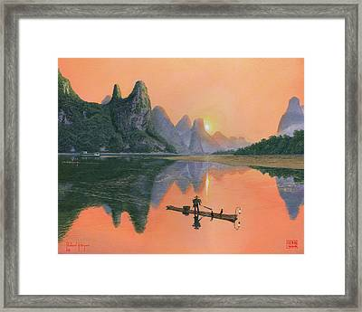 The Cormorant Fisherman Li River Guilin China  Framed Print by Richard Harpum