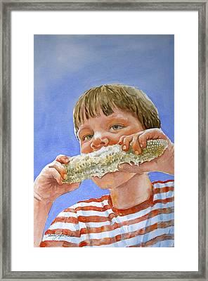 Andrew The Corn Eater Framed Print by Shirley Sykes Bracken