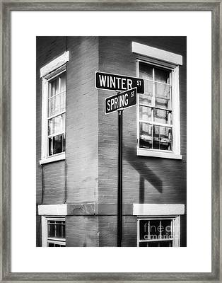 The Corner Of Winter And Spring Bw Framed Print