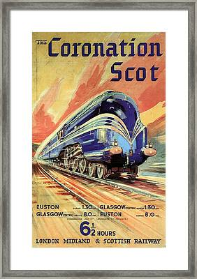 The Coronation Scot - Vintage Blue Locomotive Train - Vintage Travel Advertising Poster Framed Print
