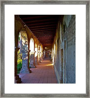 The Corridor By The Serra Chapel San Juan Capistrano Mission California Framed Print by Karon Melillo DeVega