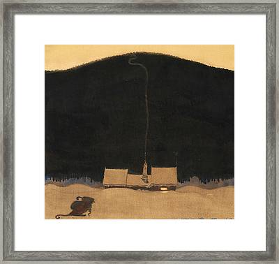 The Cottage At The Foot Of The Mountain Framed Print by John Bauer