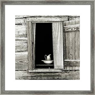 The Cottage Window - Sepia Framed Print