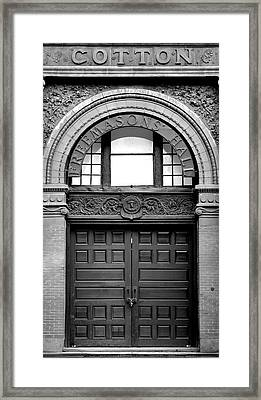 The Cotton Exchange Building Door Black And White Framed Print