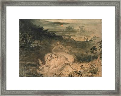 The Country Of The Iguanodon Framed Print by John Martin