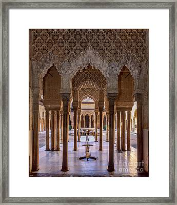 The Court Of The Lions Alhambra Palace Framed Print by Guido Montanes Castillo