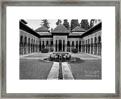 The Court Of The Lions Alhambra Spain Bw Framed Print by Guido Montanes Castillo