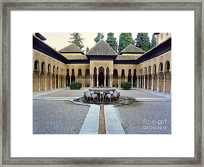 The Court Of The Lions Alhambra Spain Framed Print by Guido Montanes Castillo