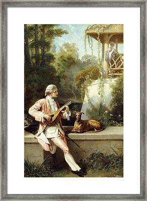The Courtship Framed Print by Felix Henri Giacomotti